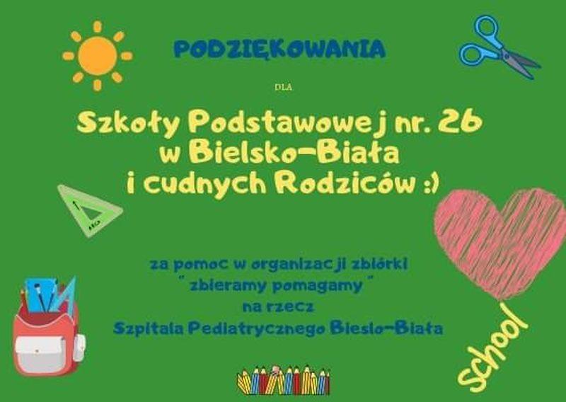 Obrazek aktualności Podsumowanie zbiórki dla Szpitala Pediatrycznego w Bielsku – Białej.